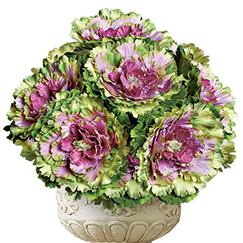Collections Etc Artificial Purple Cabbage Roses Use Separately for Smaller Arrangements or Together for a Stunning Arrangement - Set of 6