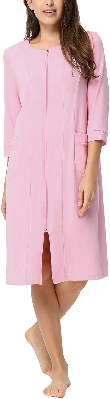 Zexxxy Damen Morgenmantel Bademantel mit Taschen Kurz Robe Nachthemd Nachtwäsche A-pink