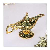 ランプを願い魔法のランプTinwareレトロヨーロッパの工芸合金クリエイティブクラフト家具 (Color : Green)