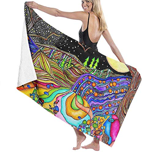 xcvgcxcvasda Badetuch, Magical Psychedelic Trippy Art Towel Sheet, Water Absorbing, Quick Dry, Washable Towel Travel Towels Ideal for Gym Yoga Sports