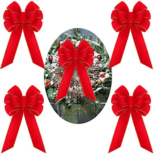 Syhood 4 Pieces 10 Inch Wreath Gift Bows Christmas Wreaths Bows Red Velvet Bows with Golden Edge Tree Ornaments Bow for Christmas Indoor and Outdoor Decorations