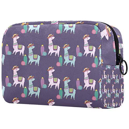 Make-up Taschen Tragbare Reise Kosmetiktasche Organizer Multifunktionskoffer Süßes Kamel mit Reißverschluss-Kulturbeutel für Frauen