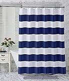 AmazerBath Stoff Duschvorhang Streifen Stoff Duschvorhang Badezimmer Duschvorhang Wasserabweisend Hotelqualität 182,9 x 182,9 cm 72 x 72 inches Marineblau gestreift