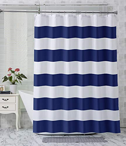 Navy Striped Shower Curtain