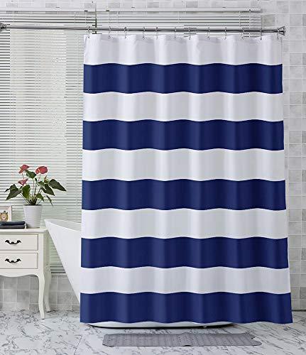 AmazerBath Stripe Shower Curtain for Bathroom, Hotel Quality Fabric Shower Curtains with 2 Heavy Duty Clear Stones, Navy Stripes Decorative Bathroom Shower Curtain, 72 X 72 Inches