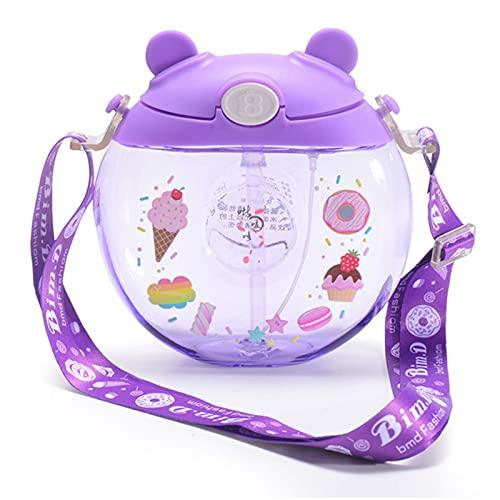 ZXZS Tipo de Spray de la Taza de Agua de los Deportes Sling de niños Sports Sports Water Cup Tipo de Paja Taza de Agua (380 ml) (Color : Purple)