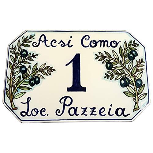 CERAMICHE D'ARTE PARRINI- Künstlerische italienische Keramik, Hausnummer 23x15 individuelle Dekoration Oliven, Fliesen handgemacht in Italien Toscana