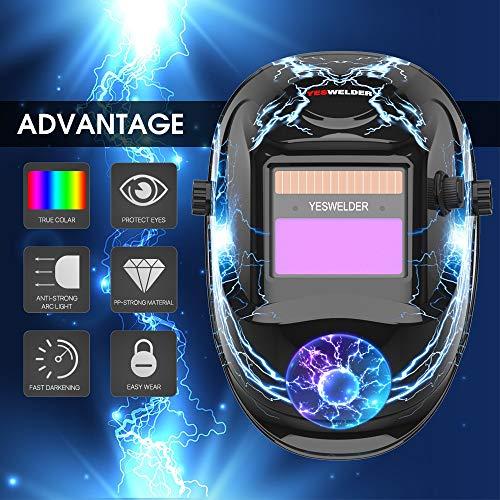 pantalla soldar automatica, Careta de soldar YESWELDER campana de verdadero con la máscara de la energía solar oscurecimiento automático de soldadura gran sombra Federación Rusa trueno ( Color : A-1 )