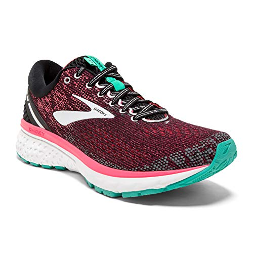 Brooks Womens Ghost 11 Running Shoe - Black/Pink/Aqua - D - 8.5