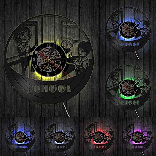 Leraar en studenten School Kleuterschool Wandklok Kinderkamer Educatief Decor Vinyl Record Wandklok Leraar Waardering Gift-With_LED
