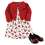 Hudson Baby Baby Girl Cotton Dress, Cardigan and Shoe Set, Cherries, 6-9 Months