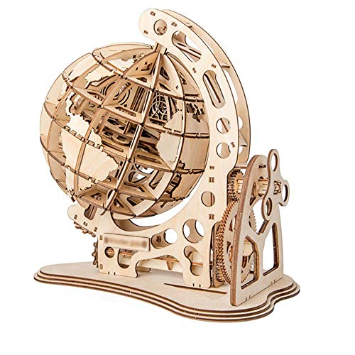 HO-TBO 3D PuzzleWooden Globe Puzzle Assembly Model Cutting DIY Toys Wood Craft Desk DecorPuzzle Game Model Jigsaw Toy