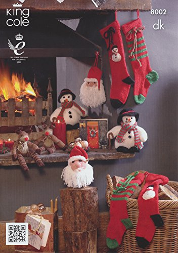 King Cole DK Christmas Knitting Pattern Snowman Rudolph Santa Head & Stockings