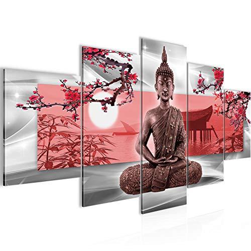 Runa Art - Cuadro Buda Feng Shui 200 x 100 cm 5 Piezas XXL Decoracion de Pared Diseño Gris Rojo 504951a
