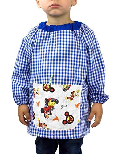 KLOTTZ - Babi guardería sin botones con bolsillo de tela MICKEY de la marca niños color: AZUL talla: 3