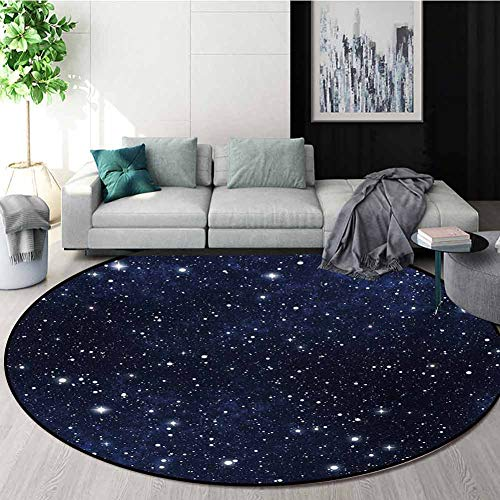Night Carpet Gray Round Area Rug,Star Filled Dark Sky Vivid Celestial Theme Cosmos Galactic Cluster Constellation Pattern Floor Seat Pad Home Decorative Indoor,Round-63 Inch