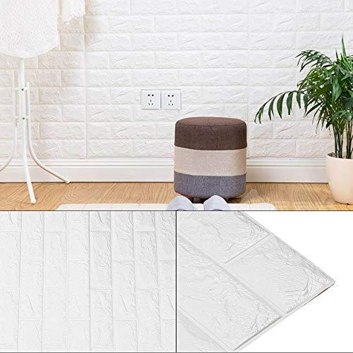AllRight 10 PCS 3D Tapete Selbstklebend Steinoptik Wandpaneele Ziegelstein Wandaufkleber 77 x 70 cm 77 x 70 cm (Weiß)