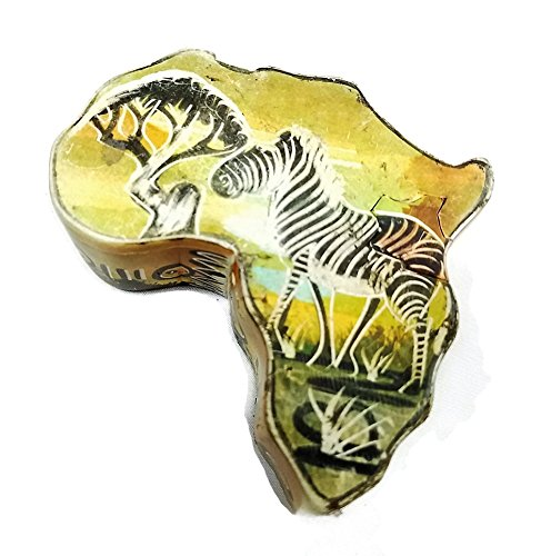 Hand Made Map of Africa Soapstone Keepsake Box With Cut Off Map of Kenya and Zebra