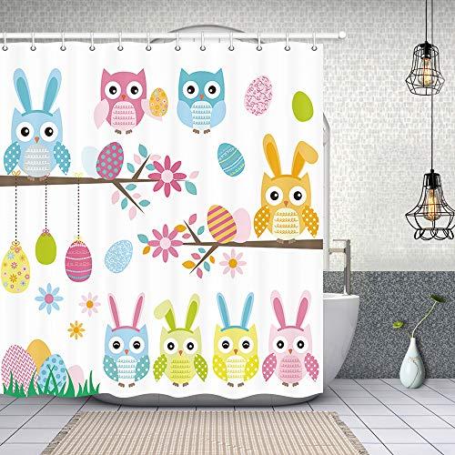 NYMB Oster-Eulen-Duschvorhänge, lustige Eule mit Hasenohren Bunte Ostereier zum Aufhängen auf AST, Polyester-Stoff Oster-Duschvorhang, Badezimmer-Zubehör-Sets, 177,9 x 177,8 cm