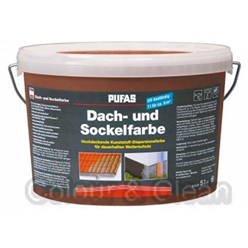 Pufas Dach- und Sockelfarbe 5 L Farbe: Ziegelrot 957 Dachfarbe Sockel-Anstrich