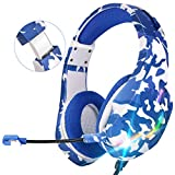 ONIKUMA Auriculares Gaming PS4 con Micrófono,PC Cascos Gaming Estéreo Envolvente 7.1 Cancelación Ruido,Control Volumen,Diadema Ajustable,Luces LED para Xbox One/Nintendo Switch/PC/Tablet/Smartphone