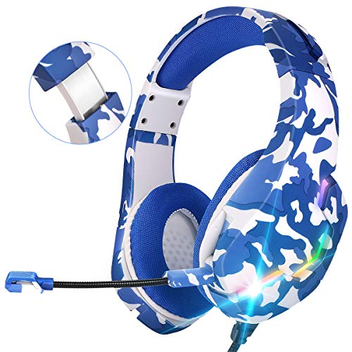 HAMTOD ONIKUMA PS4 Gaming Headset,PC Gaming-Headset mit Mikrofon &LED-Licht 7.1 Surround Sound Gaming Kopfhörerfür PC PS4 Xbox one Switch Laptop Mac Smartphone Tablet