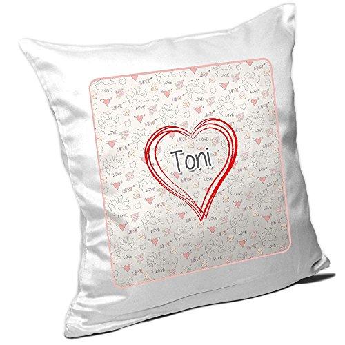 Kissen mit Namen Toni und schönem Herz mit vielen Liebes-Symbolen zum Valentinstag - Namenskissen - Kuschelkissen - Schmusekissen