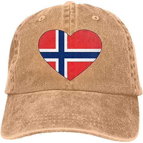Elsaone Verstellbare Vintage Jeans Baseballmützen für Herren/Damen Norwegen Flagge Herzform Trucker Cap