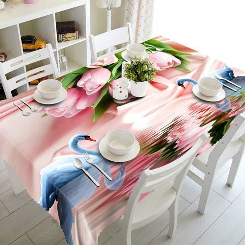 3D Flamingo Famille Nappe Joyeux noël Cygne Amoureux imperméable Nappe rectangulaire pour Mariage A4 140x200 cm
