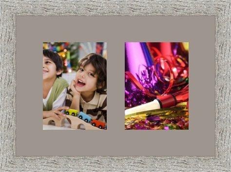 Cadres Photos pêle mêle multivues TV Grey 2 Photo(s) 15x20 Passe Partout, Cadre Photo Mural 43x30 cm Taupe Gris, 3.5 cm de Largeur