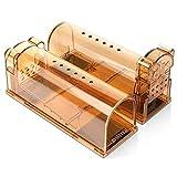 Jsdoin 2X Trampa para Ratas - Set de 2 trampas para Ratones y Otros Animales pequeños - Ratonera de plástico de Color marrón