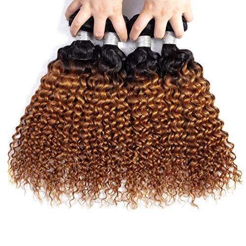 IMAYLI Ombre Brazilian Curly Hair 4 Bundles Wet and Wavy Kinky Curly Ombre Human Hair Weave 2 Tone Deep Wave Hair Extensions 1B/30 Color(16 16 16 16)
