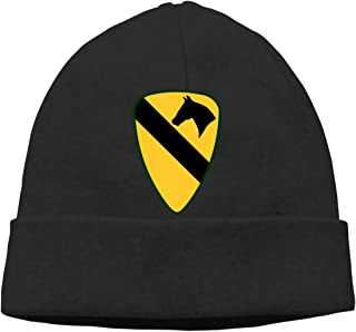 Fort Hood, 1st Cavalry Division, Fort Bliss, Symbol, Yellow Unisex Knit Beanie Hat