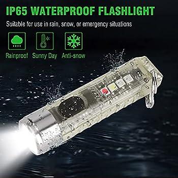 Mini porte-clés LED lampe de poche USB rechargeable puissante lampe de poche fluorescente avec lumières latérales 11 modes de luminosité 400 lumens pour camping extérieur (Transparent)