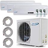 3 Zone Mini Split - 12000 + 12000 + 18000 - Ductless Air Conditioner - Pre-Charged Tri Zone Mini Split -...