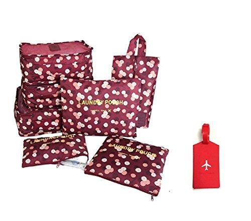 NOVAGO Organizzatori per valigie , 7 pezzi , per organizzare i vestiti , biancheria intima , scarpe, vestiti sporchi + 1 Etichetta per valigie offerta (Rosso / Fiori)