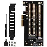 Tarjeta de expansión de Doble Disco PCIE a M.2 SATA + NVME PCI-E 3.0 x 4 M.2 SATA/M.2 NVME SSD Tarjeta PCI-E para 2230 2242 2260 2280 22110 Tamaño SSD M.2
