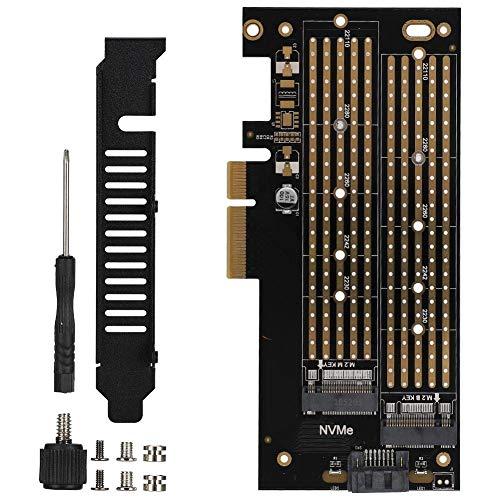 Diyeeni Dual M.2 PCIe Adapter, PCIE auf M.2 SATA + NVME Dual Disk Erweiterungskarte für 2230 2242 2260 2280 22110 Größe M.2 SSD