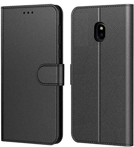 Tenphone Etui Coque pour Samsung Galaxy j3 2017 (J330), Protection Etui Housse en Cuir Portefeuille Livre,[Emplacements Cartes],[Fonction Support],pour (Samsung J3 2017 (5 Pouces), Noir)