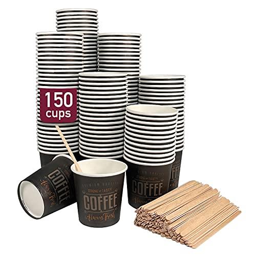 150 vasos desechables café de 120 ml, vasos de cartón desechables con paletinas de madera para café. Para bebidas frías y calientes.
