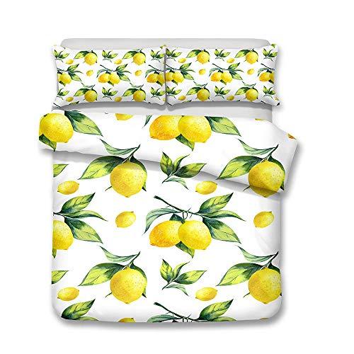 WPHRL Fruta Amarilla limón Juego de Ropa de Cama de 3D Funda nórdica de Microfibra Ligera con Cierre de Cremallera Doble 200X200cm(1 Funda nórdica + 2 Fundas de Almohada)