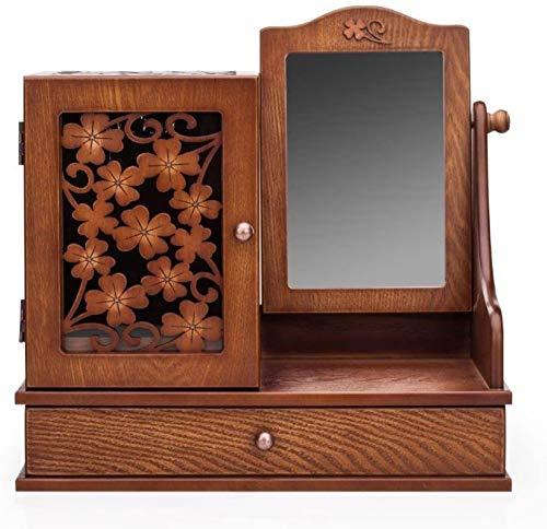 Hecho a mano retro hueco tallado maquillaje de maquillaje creativo con cajones encimera tabla de tocador espejo iluminado decoración del hogar para maquillaje (marrón)