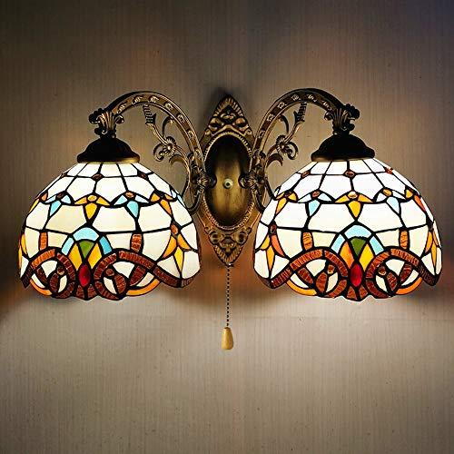 Lámpara de pared de doble cabezal de 17 pulgadas, lámpara de pared de estilo Tiffany, pantalla de vitrales barrocos, apliques de dormitorio de pasillo, interruptor de línea de tracción