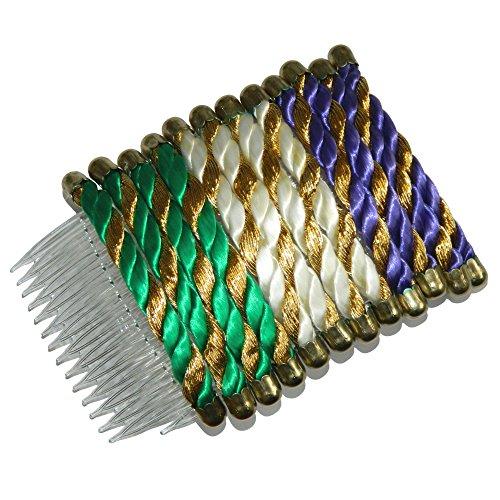 Indischerbasar.de - Lot de 12 Peignes vert blanc violet doré Satin Plastique Accessoires Mode Coiffure