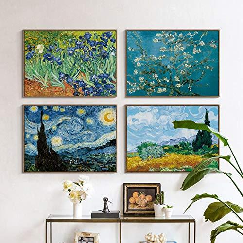 Vincent Van Gogh Célèbre kunstenaars, doek, olieverfschilderij, huis, decoratie, 40 x 60 cm x 4