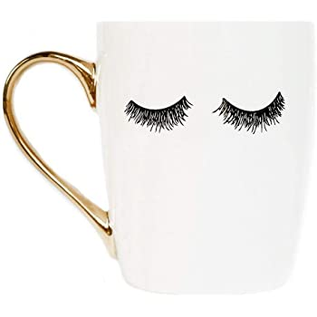 Sweet Water Decor Cute Coffee Mugs with Golden Handle | Girly Make Up & Mascara 16oz China Coffee Cup with Quote and Eyelashes | Embellished with Real Gold & Microwave Safe (Eyelashes - White)