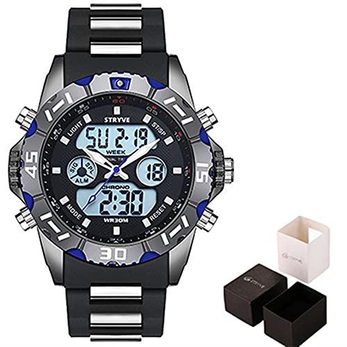 ZXMD Reloj Deportivo de Hombres Digitales Reloj Digital de cronógrafo a Prueba de Agua (4 Colores) (Color : Blue with Box)