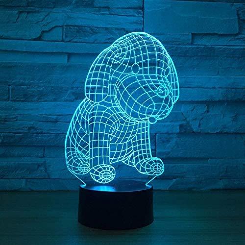 YOUPING - Lámpara de mesa LED para perro 3D, luz nocturna USB, 7 colores, interruptor táctil, luces de ilusión 3D como salón decorativo para niños, lámpara acrílica regalo de Navidad