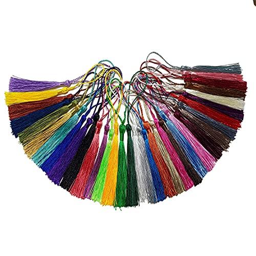 200 pz Nappe Segnalibro Nappe,13cm Multicolore Nappa per Decorazioni, Filo di seta Nappe per la Creazione di Gioielli Segnalibri Souvenir, Accessori Artigianali fai da te (Multicolore)