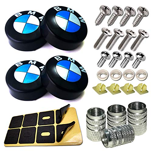 License Plate Frame Screw Bolts-Car Tag Screws,Logo Black Plastic Caps Cover Replacement for BMW,Plate Mounting Hardware M5/M6 mm Stainless Steel Locking Bolt Nuts,for Front and Rear Holder